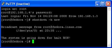 сhoza acogedora personales shutdown linux command line