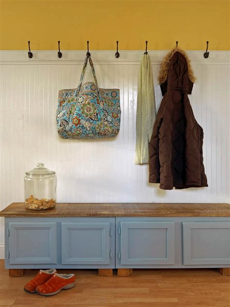 mudroom storage bench upcycle kitchen cabinets into a storage bench how tos diy
