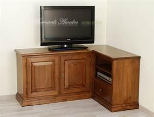 Porta tv in noce massello 2 porta tv for Mobile tv angolo