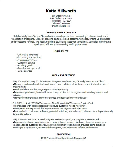 professional walgreens service clerk resume templates to