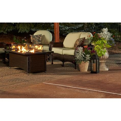 All delivery options same day delivery include out of stock all deals sale chimineas fire columns fire pits fire tables ground fire rings outdoor fireplaces patio coffee tables aluminum. Montego Crystal Fire Pit Coffee Table with Wicker Base | Wayfair