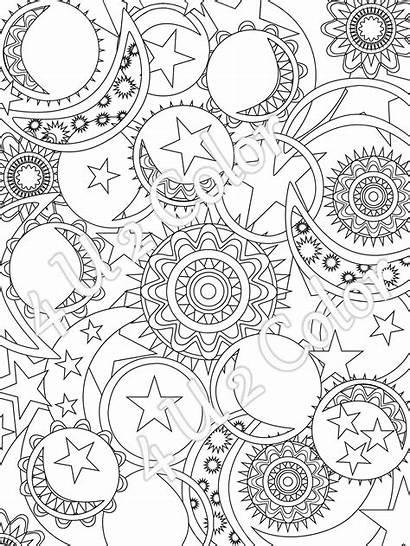 Coloring Moon Sun Stars Adult Printable Something