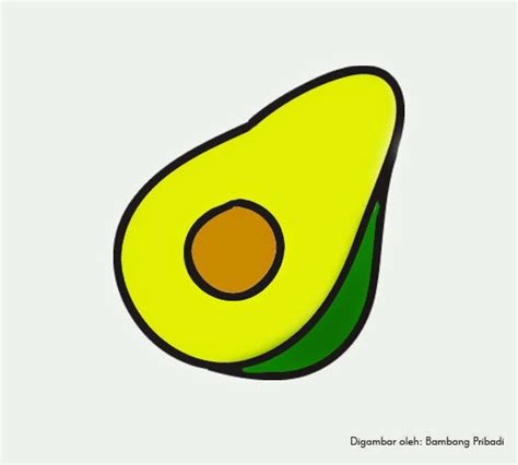 cara mewarnai gambar buah alpukat matang belajar