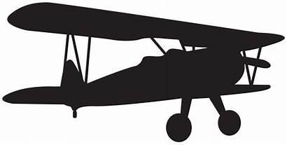 Silhouette Plane Clip Biplane Clipart Airplane Aircraft