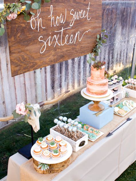 sweet sixteen dessert table boho inspired party theme themed parties dessert table