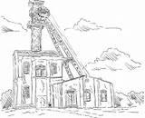 Coal Mine Clip Elevator Illustrations Tower Dibujo Mina Depositphotos sketch template