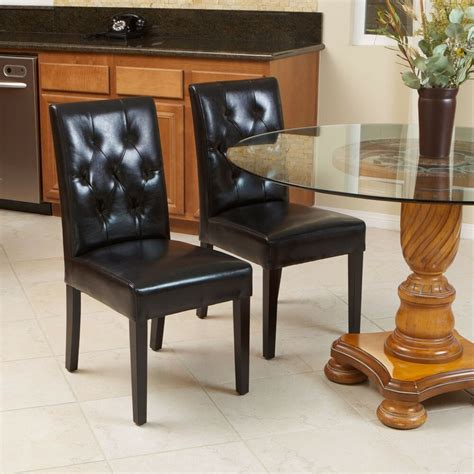 leather dining room chair set of 2 black leather dining room chairs with