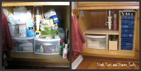 diy kitchen sink storage remodelaholic organization link up pink toes and 8777
