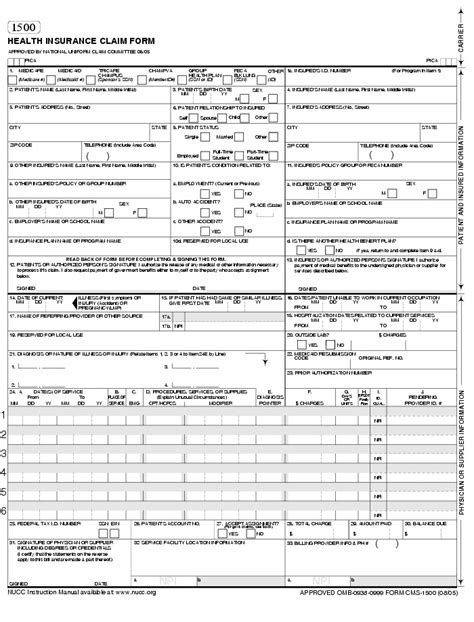 Cms 1500 Claim Form Template Templates Resume Exles Kzy33xlywk