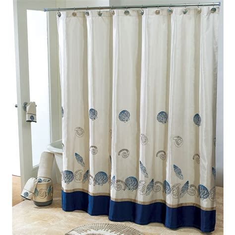 wonderful white fabric and blue base shower curtain added stainless stell rods also