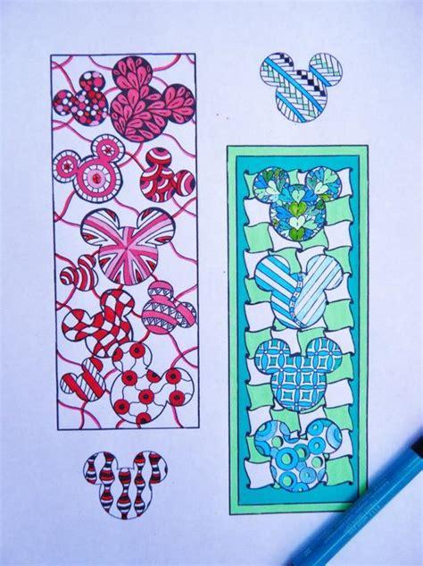 mickey mouse bookmarks  color zentangle  brushstrokeornaments