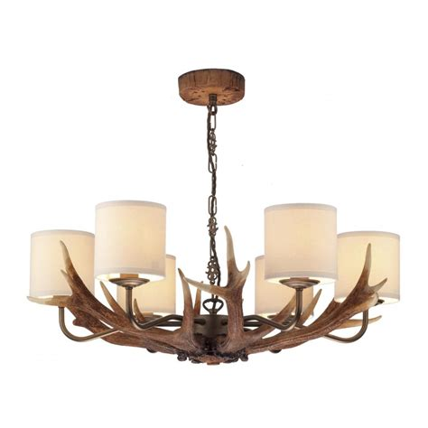 Stag Antler Ceiling Pendant Light, Rustic Colours With