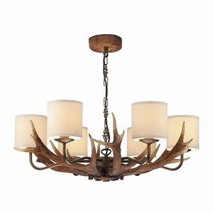 Stag antler ceiling pendant light rustic colours with