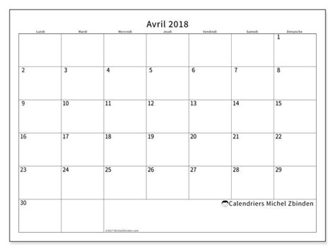 organiseur de bureau calendriers avril 2018 ld