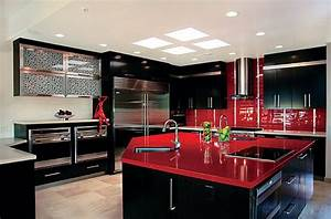 Rote Arbeitsplatte Küche : coole rote farbe f r die k che mit schwung frech und ~ Sanjose-hotels-ca.com Haus und Dekorationen