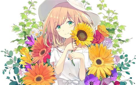 Anime Flower Wallpaper - desktop wallpaper anime flowers hd image