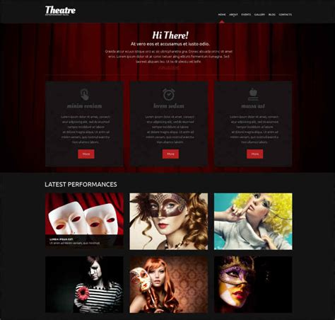 theatre responsive website template 24 cinema themes free premium website templates