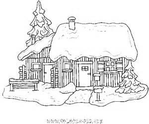 coloriage chalets et maisons de noel et montagne gratuit