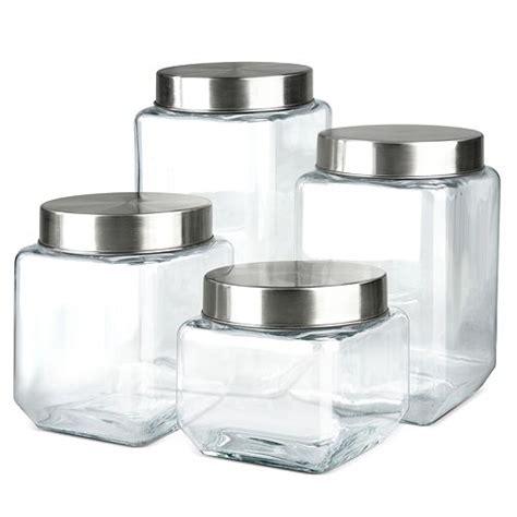 farberware  pc square glass canister set