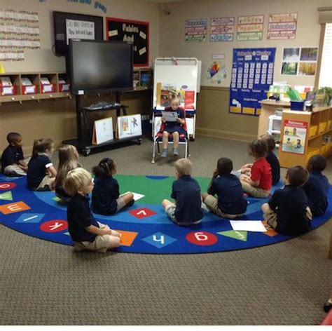 classroom with small class size and student ratio 810 | private K reading and presenting to each other