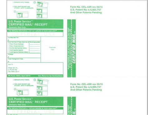 certified mail forms cel  form pack   clean