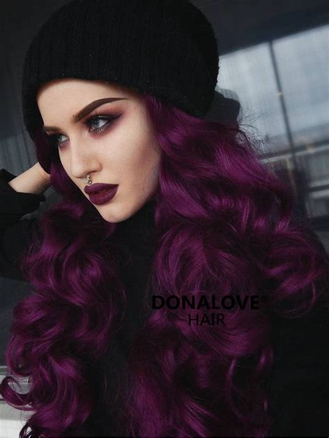 Dark Purple Wavy Waist Length Lace Front Synthetic Wig