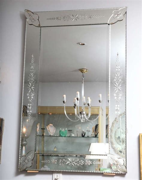 french etched  beveled mirror home furniture