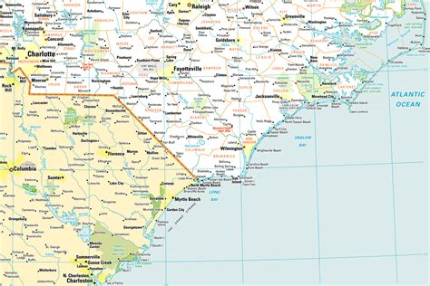 south nc map of north carolina coast bing images