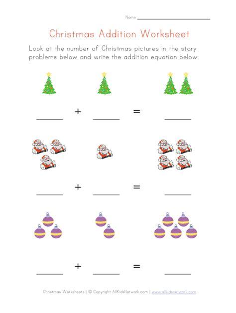 Kindergarten Christmas Addition Worksheets