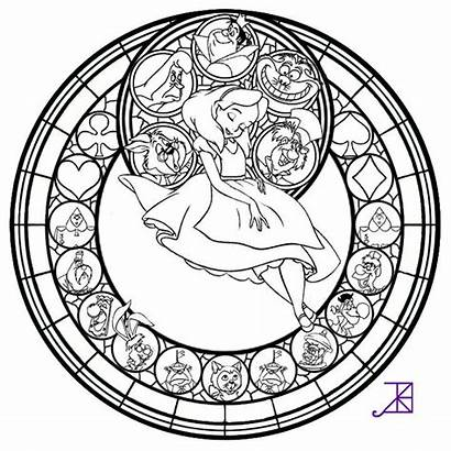 Stained Coloring Glass Pages Alice Mandala Line