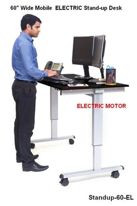 motorized stand up desk stand up 60 el 60 quot wide electric stand up desk