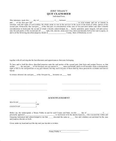 quitclaim deed sample form   documents  word