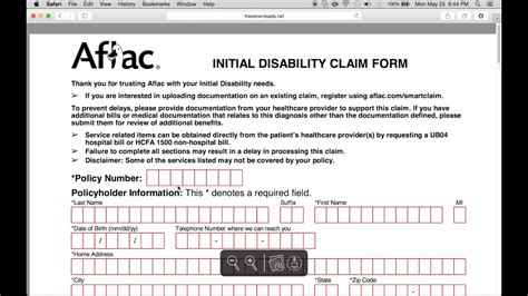how to fill in aflac claim form