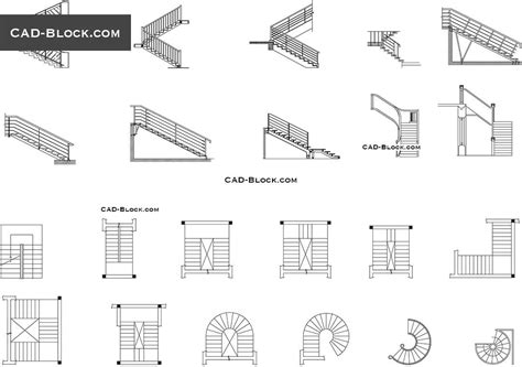 stairs plan elevation  cad drawings   rock