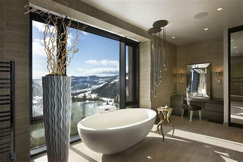 luxurious master bathroom luxury ski resort in montana by len cotsovolos Modern