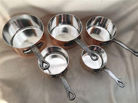 set   hammered matfer mauviel tin lined copper sauce pans rocky mountain retinning