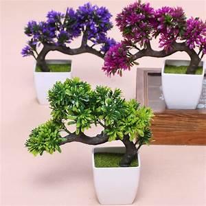 Hyson Shop Artificial Bonsai Pot Planters Pine Plants Mini