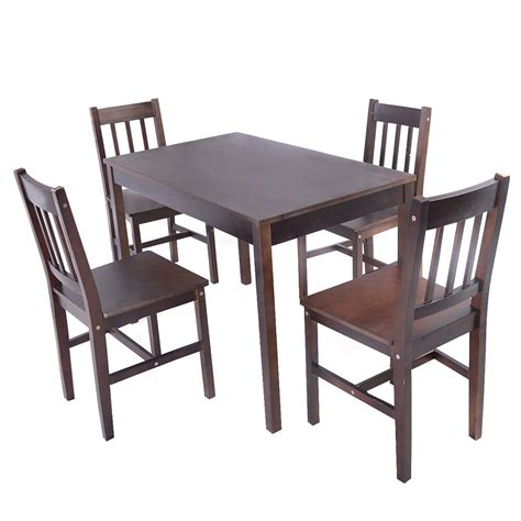pcs solid pine wood dining set table   chairs home kitchen furniture brown ebay