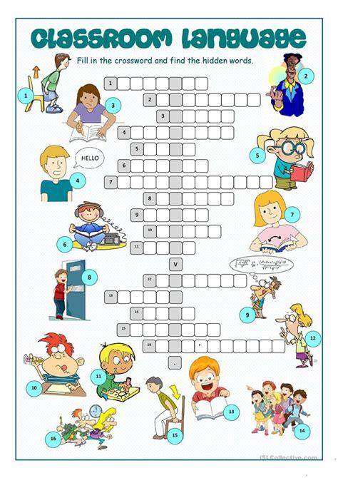 classroom language crossword puzzle worksheet  esl