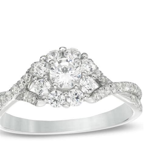 zales white diamond cluster from engagement ring tradesy