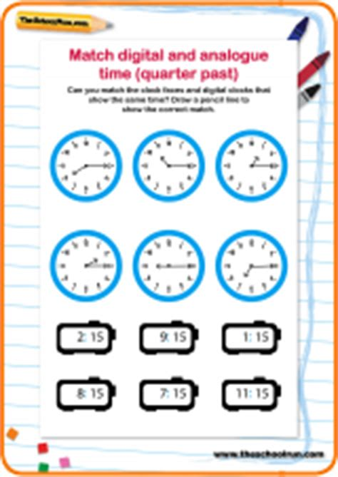 Telling The Time Worksheet Quarter Past The Hour Theschoolrun