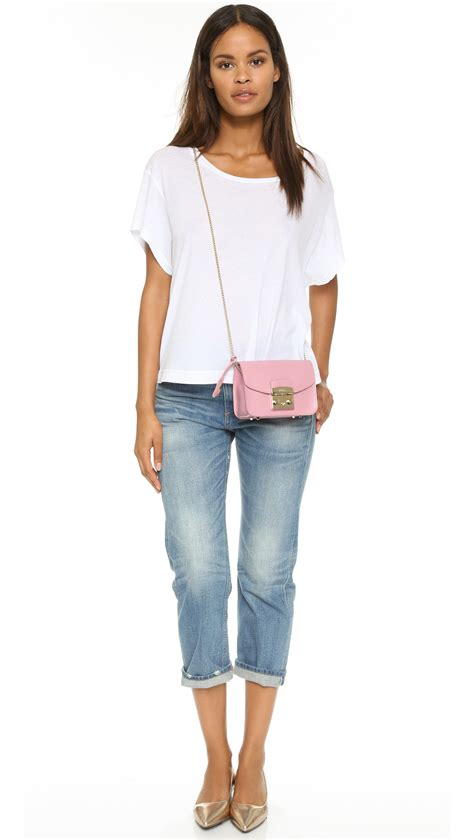 furla top furla metropolis mini cross bag aubergine in pink