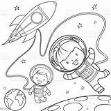 Coloring Space Rocket Travel Pages Vector Clipart Illustrations During Clip Cartoon Colouring Istock Astronaut Illustration Vectors sketch template