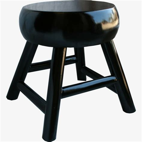 chinese black  stool thick seat  piece  wood