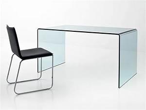Bureau Design En Verre Courb Transparent D39un Seul