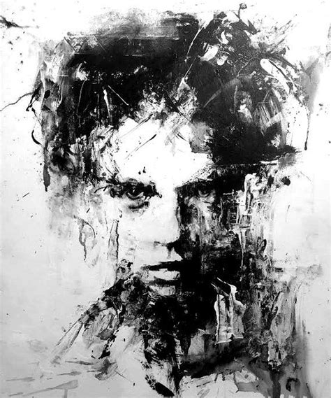 Abstract Black Portrait Painting by Original Acrylic Painting Black And White