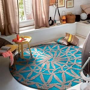 tapis rond de salon turquoise esprit home oriental lounge With tapis de salon rond