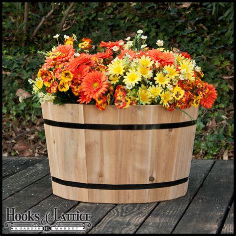 wine barrel planters cedar wine barrel wood planter box hooks lattice