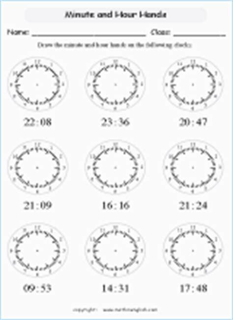 draw hands  clock printable grade  math worksheet