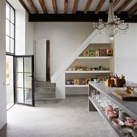 grey rustic kitchen  simple shelving kitchen